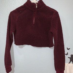 Sweaters - cropped sherpa teddy half zip